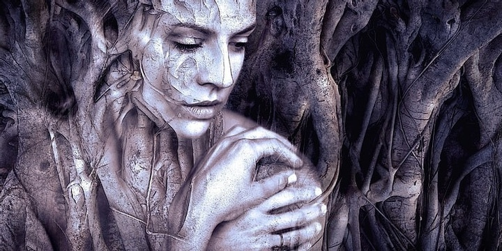 Beutiful art image showing a wise woman in wood-like environment